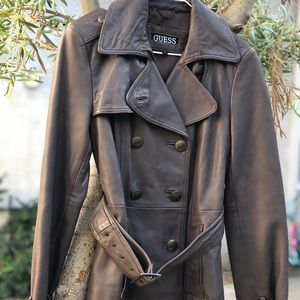 VTG GUESS Leather Trench Coat, Size S